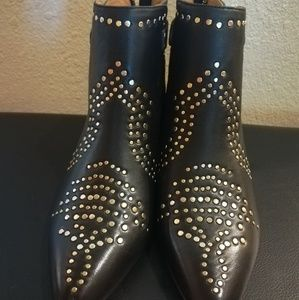 😎Joie Bickson lambskin studded black booties